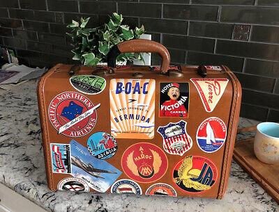 "Vintage Samsonite Hard Luggage Suit Case w/ Travel Stickers • 15.5"" x 11"" x 7"""
