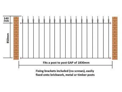 Budget Metal Garden Fence Railing Panel Fits 1830mm  (6ft) GAP x 990mm H