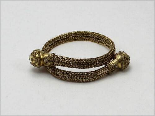 Vintage Victorian Style Gold Tone Overlapping Chain Bracelet w/Floral Design