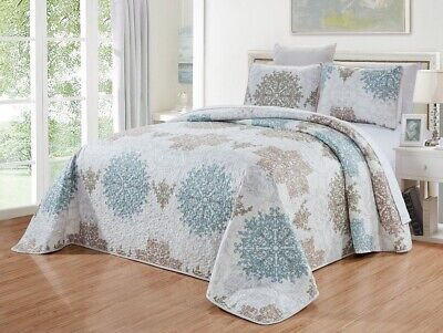 Blue White Grey Scroll Quilt Reversible CAL King Size Coverlet Set Bedspread ()