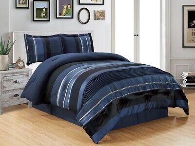 4Pc CAL King Navy Blue Black Silver Stripe Oversize Chenille Comforter Set California King Chenille Comforter