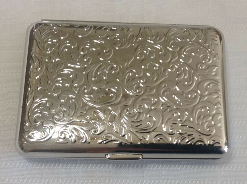 Vintage Double Sided Silver Tone Etched Cigarette Case