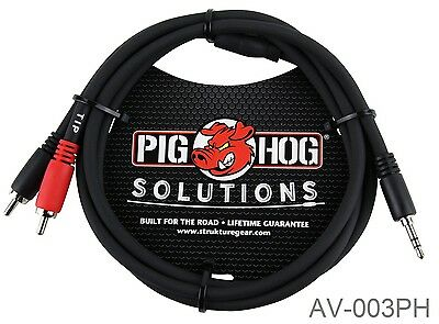 3ft PigHog Stereo Breakout Cable, 3.5mm Stereo Male to Dual RCA Male, AV-003PH