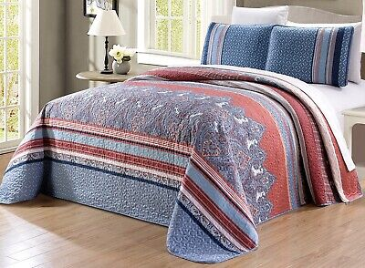 Oversize Blue White Red Quilt Reversible CAL KING Size Bedspread Coverlet Set ()