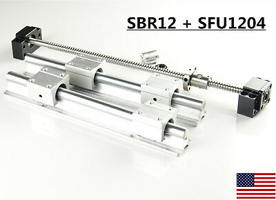 2x Sbr12 Linear Rail Set 1x Sfu1204 Ballscrew Kit 300-1500mm For Cnc Diy
