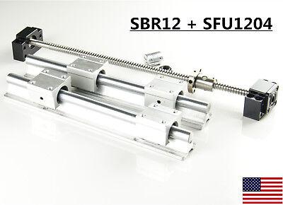 2x Sbr12 Linear Rail Set 1x Sfu1204 Ballscrew Kit 300-1500mm For Cnc Diy