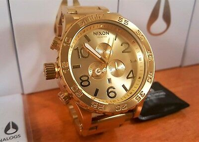 New NIXON 51-30 CHRONO All Gold Men's watch A083-502 A083502