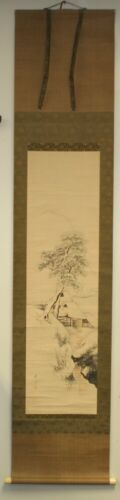 Japanese scroll sumi ink painting winter scene signed Toyohiko