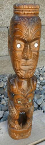 Maori Ethnographic Standing Tiki HEI Figure Signed 1974 Tribal Art New Zealand