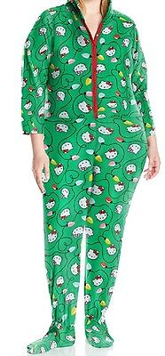 Hello Kitty  Green Women's Plus Size Ugly Holiday Hoodie Jumper 1X Runs Small - Plus Size Hello Kitty Hoodie