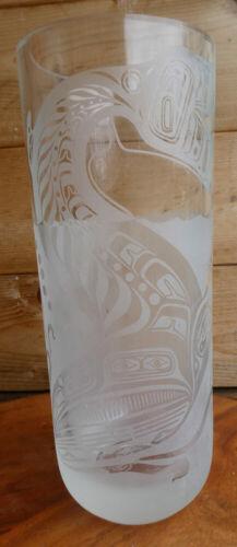 "Canada Northwest Coast Artist Lyle Wilson ""Diving Whale"" Glass Art Vase Signed"