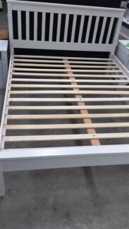 Brand new rubber wood bed frame in white color