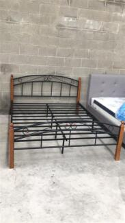 Brand New Metal Bed with Timber Post