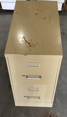 Vintage Commercial Heavy Duty 2 Drawer Steel File Cabinet With Hanging Files