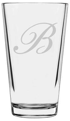 Bix Script Font - Etched Monogram All Purpose 16oz Libbey Pint Glass - Monogram Script Font