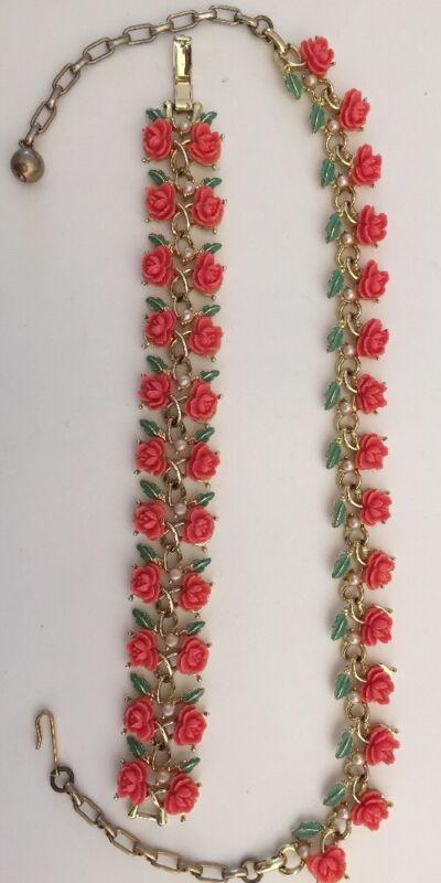 Vintage 50s Thermoset Coral Pink Carved Rose Necklace Bracelet Set Excellent!