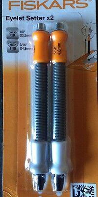 """FISKARS EYELET SETTER setting/ hole cutter  TOOL kit 1/8'' & 3/16"""" set of 2"""