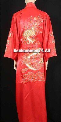 Bestickte Satin-robe (Bestickt Drachen Design Doppel Glück Seide Satin Kimono Robe Taillenband, Rot)