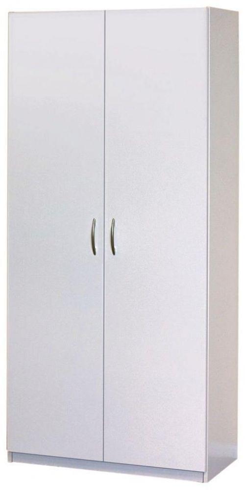 2 Door Wardrobe Cabinet Clothes Closet White Armoire Bedroom