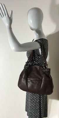 B Makowsky Large Brown Leather Shoulder Bag Purse