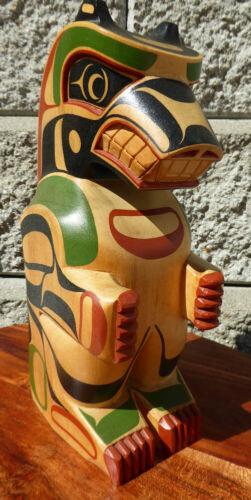 Northwest Coast Basswood Bear Sculpture Artist Steve Smith Canada Aboriginal