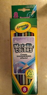 CRAYOLA Metallic Colored Pencils NIP 8 Pack Long Create Shimmering Effects Wood ()