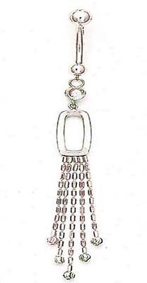 WOW 14k Karat White GOLD Belly Navel Ring Bar Cub Drop Dangle Chain