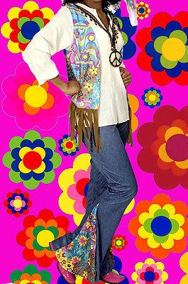133✪ Hippie Blumenkinder Kostüm 60er 70er Jahre mit Kette Stirnband 4 Teile