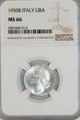 Italy. Republic. Al 5 LirA 1950 R. NGC MS66!