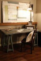 Solid Wood Farmhouse Desk $995 by LIKEN woodworks