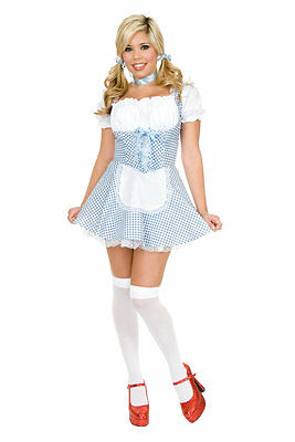 Sexy Dorothy Wizard of Oz Country Girl Gingham Dress Up Halloween Adult Costume](Country Girl Halloween Costumes)
