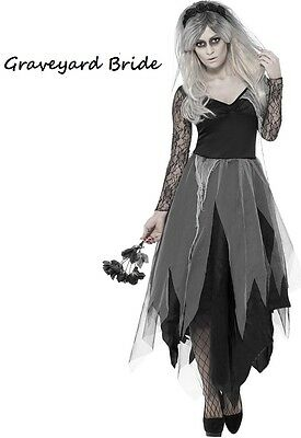 Womens Graveyard Bride Halloween Costume Ghost Corpse Fancy Dress Plus Size 8-22 ()