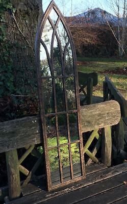 Gothic 'Chinor' Garden Mirror with Vintage Metal Finish