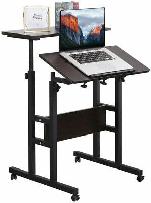 2-tier Mobile Stand Up Height Adjustable Laptop Desk Home Office Computer Desk