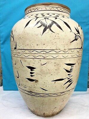 Antique Large Korean Pottery Celadon Glazed Vase, Height 24 Inches