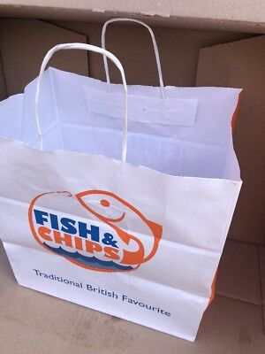 100 Jumbo Fish & Chips Paper SOS carrier  BAG Twisted Handle