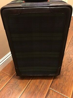 Ralph Lauren Tartan Plaid Leather Luggage Suitcase Carry On Bag Trunk 21inch