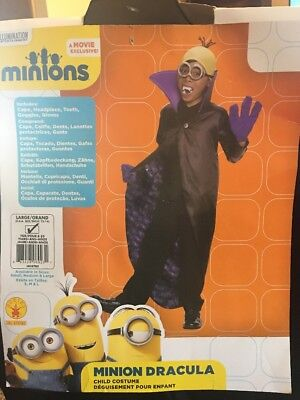 New MINION DRACULA Child HALLOWEEN Costume SIZE LG/GRAND 12-14 - Kid Minion Halloween Costume