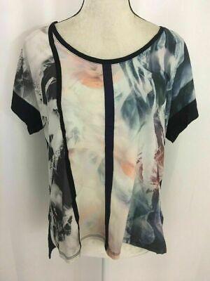 Zara New Womens Floral Blue Black White Orange Short Sleeve Top t shirt Medium
