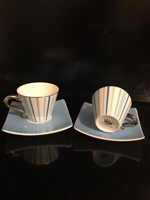 IMPERIAL  ITALIAN DESIGN BY ANTONIO COFFEE  -2 CUPS AND 2 PLATES - GREEN-GOLD