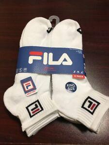 FILA Men's KING SIZE 6-Pair Quarter Crew Socks Shoe Size 13-15 White