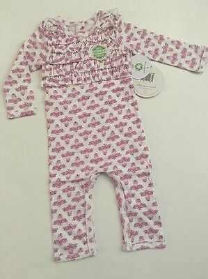 Burts Bees Baby Girl Organic Pink Magenta Coverall Size 3 6 9  12 18 24 Months