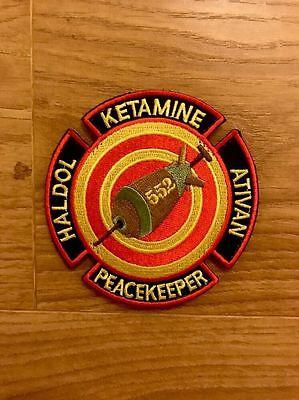 Peacekeeper: Ketamine - Haldol - Ativan EMS Morale Patch - Hook Material Backed