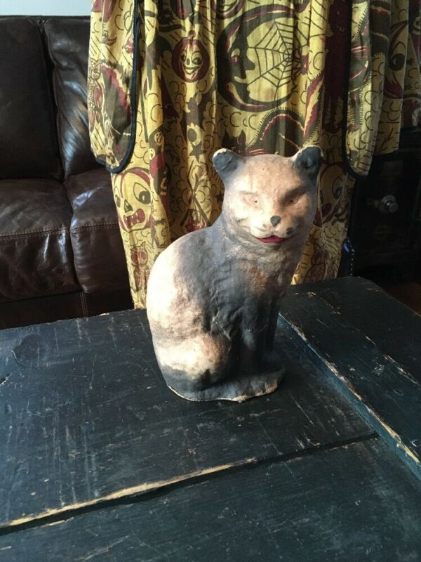 AMAZING ANTIQUE HALLOWEEN PAPER MACHE CAT GREAT CONDITION AND EXPRESSION RARE