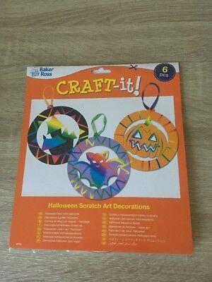 HALLOWEEN SCRATCH ART DECORATIONS BAKER ROSS PARTY FUN PRESENT KIDS NEW X6 - Ross Halloween Party