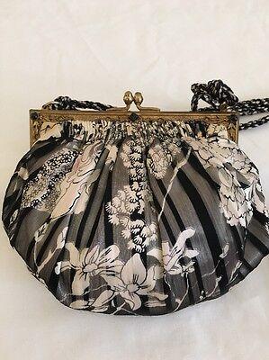 1930s Handbags and Purses Fashion REVIVALS Black/White Silk Evening Purse Vintage Frame 1930's Reproduction Onyx $87.99 AT vintagedancer.com
