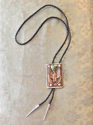 Large Vintage Bolo Western Tie Brass Eagle Genuine Stones Leather w/Silver Tips