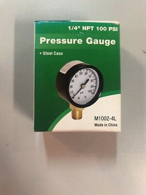 Water Pressure Tank Gauge .25 Bottom Mount 100 Psi. Water Source M1002-4l