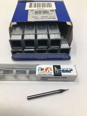 10 Iscar .60mm X 1.20mm X 3.00mm Carbide Ball Micro End Mill Ebm006a012-2c03