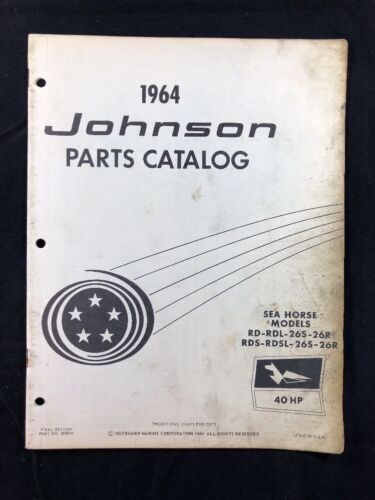 1964 JOHNSON OMC PARTS CATALOG LIST MANUAL 40 HP MODELS P/N 380049 DEALER